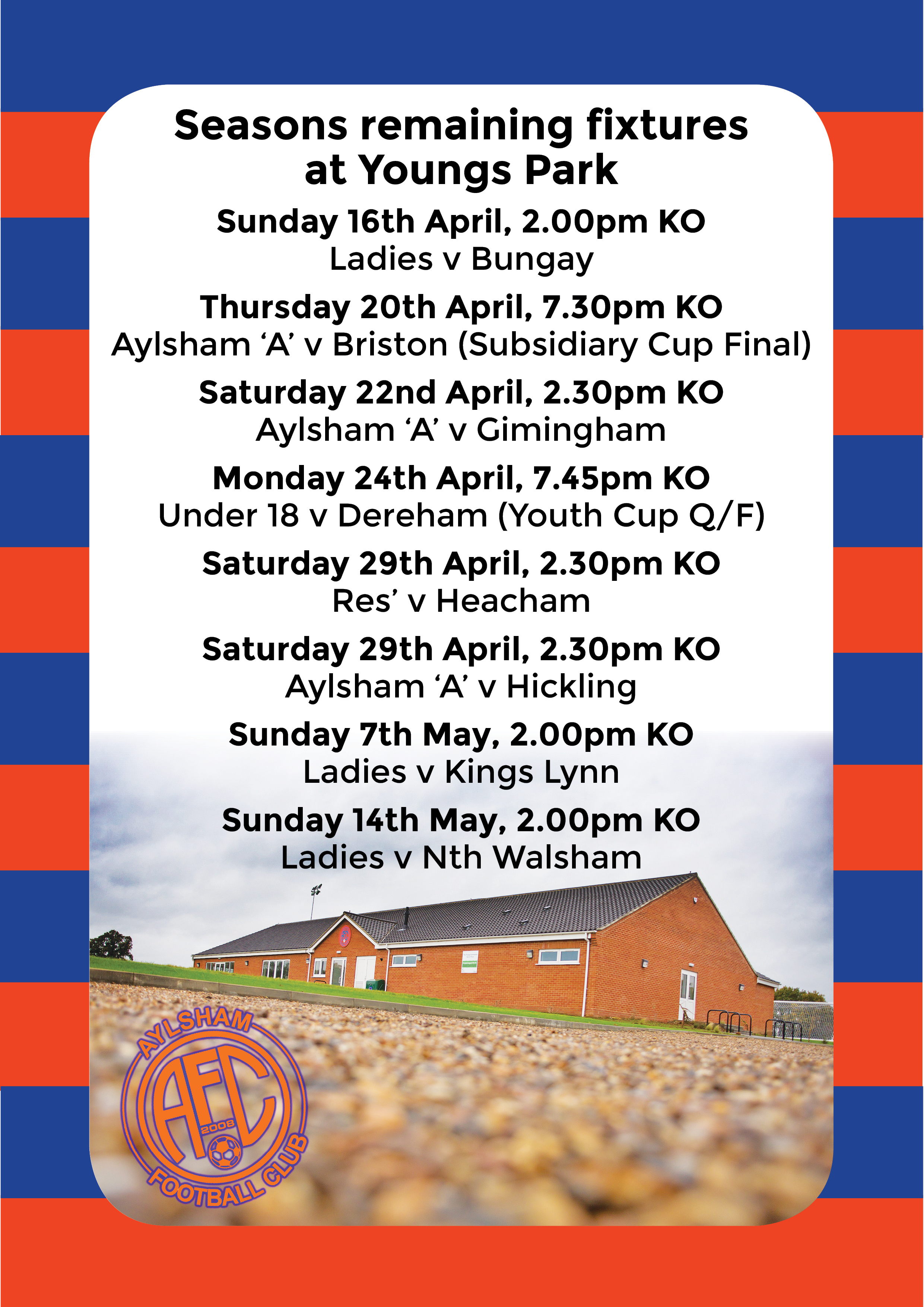 Upcoming fixtures at Youngs Park